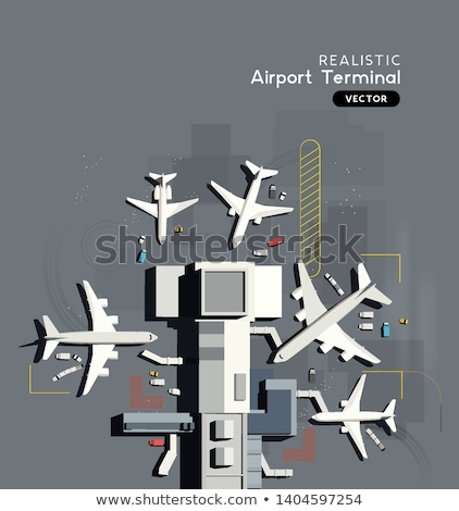 Aerial Top Down View of A Busy Airport Terminal With Airplanes Stock photo © solarseven