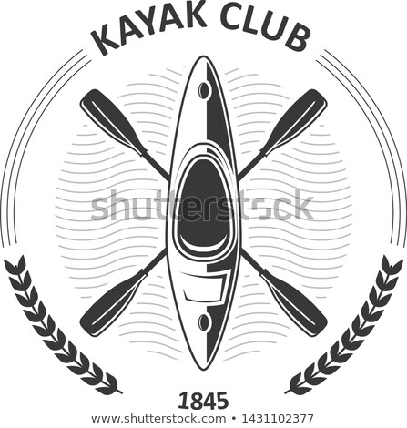 Kayaking club emblems - canoe and two crossed paddles, kayak lab Stock photo © Winner