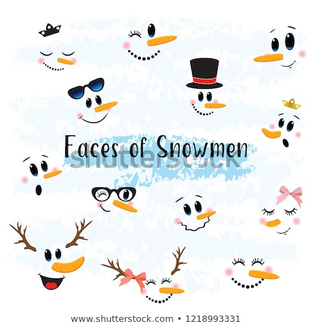 Aranyos vicces vektor hóember arc ikonok Stock fotó © Pravokrugulnik