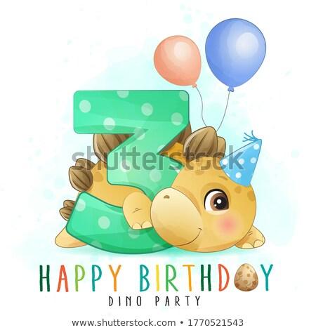 Dinosaures anniversaire modèle illustration fête design Photo stock © bluering