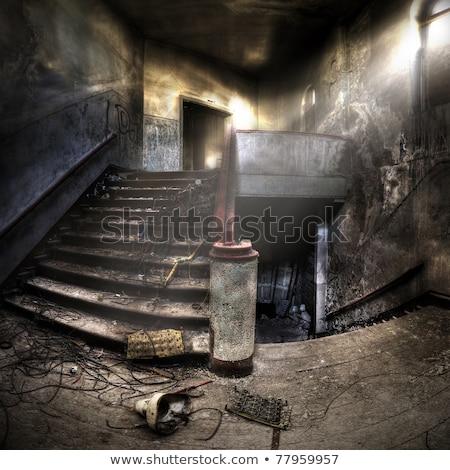 Starych schody wnętrza opuszczony budynku widok z boku Zdjęcia stock © boggy