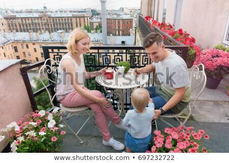 幸せな家族 朝食 バルコニー 表 コーヒー フルーツ ストックフォト © galitskaya