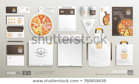 Pizzeria Restaurant, Pizza in Box with Coffee Stock photo © robuart