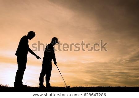 jogador · de · golfe · condução · para · baixo · céu · grama - foto stock © krisdog