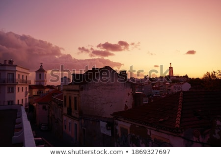 Silhouette of Lisbon cityscape - old town view with landmarks of Stock photo © Winner