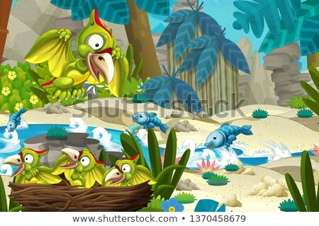 Cartoon illustration heureux dinosaures personnage reptile Photo stock © izakowski