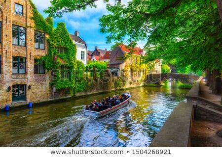 Kanal Belçika tarihsel evler ağaç şehir Stok fotoğraf © borisb17