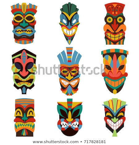 Tiki Idol Collection Totem Vintage Color Set Vector Stock photo © pikepicture
