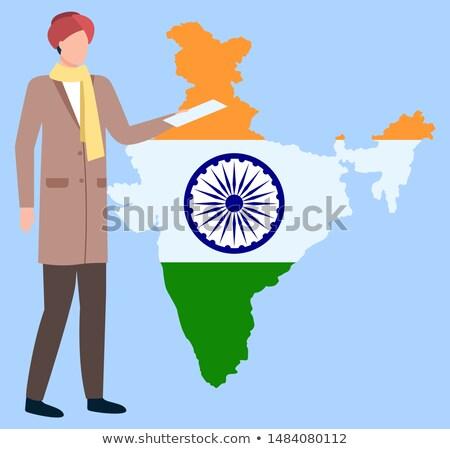 Homem turbante em pé mapa Índia vetor Foto stock © robuart