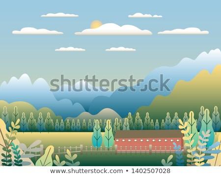 Wzgórza góry krajobraz stylu projektu dolinie Zdjęcia stock © cosveta