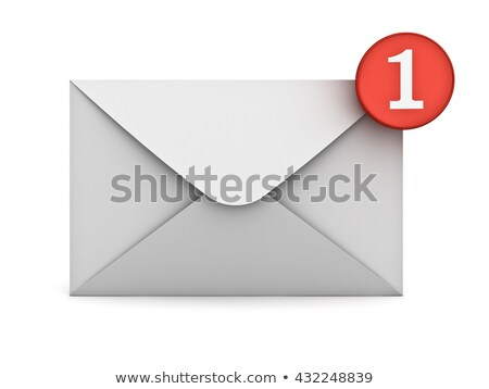 Notification icon with envelope and number one 3D Stock photo © djmilic