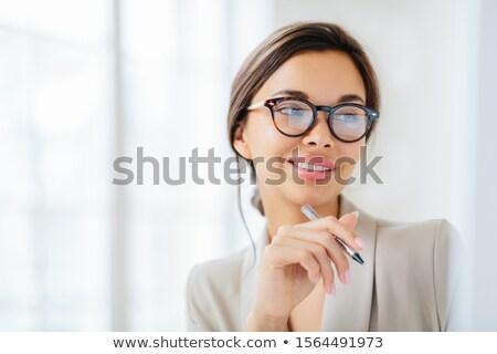 Mosolyog jómódú hölgy munka üzlet gömb Stock fotó © vkstudio
