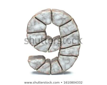 рок кирпичная кладка шрифт числа девять 3D Сток-фото © djmilic