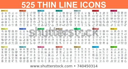 Online onderwijs dun lijnen web icon ingesteld Stockfoto © -TAlex-