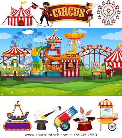 Themepark scene with many rides on white background Stock photo © bluering