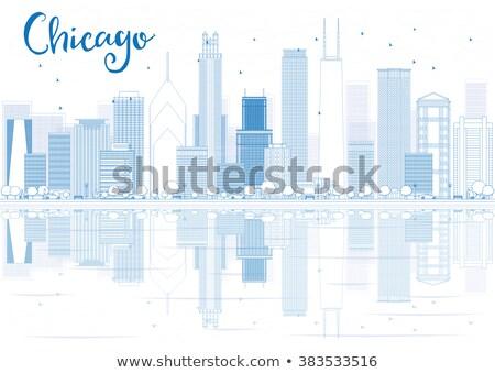 Chicago ufuk çizgisi mavi binalar yansımalar Stok fotoğraf © ShustrikS