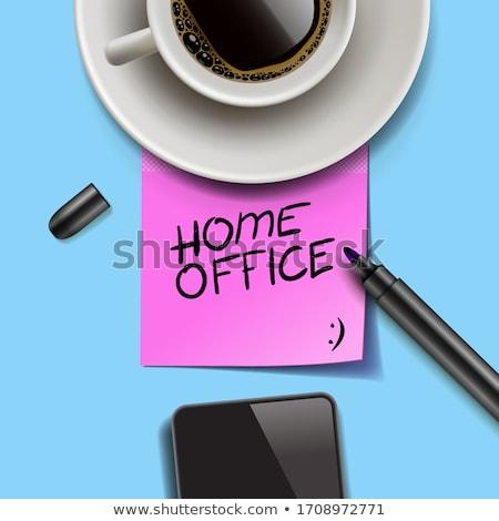 Otthoni iroda írott rózsaszín post it tartózkodás otthon Stock fotó © ikopylov