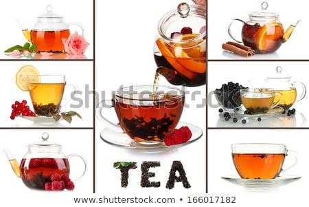 Herbaty czajniczek łyżka cytryny biały kwiat Zdjęcia stock © butenkow
