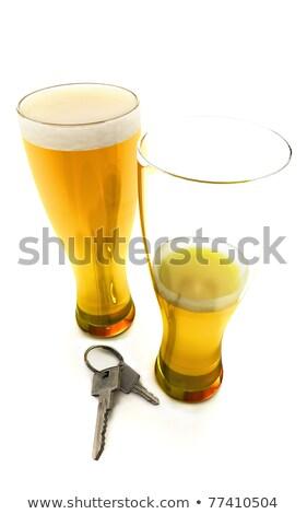 один ключи от машины изолированный белый пива Сток-фото © digitalstorm