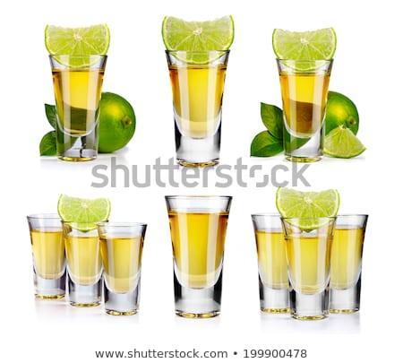 Tiro cóctel colección oro tequila aislado Foto stock © karandaev