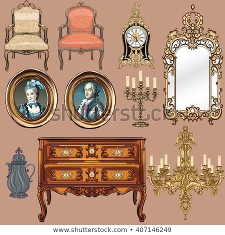 Ingesteld antieke meubels decoratief collectie bruin Stockfoto © ElaK