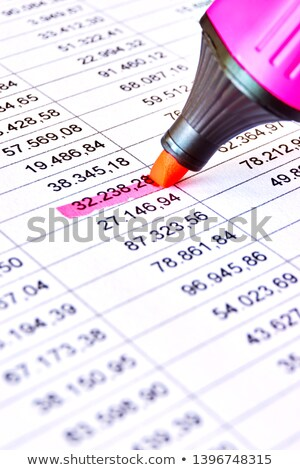Reviewing the accounts on a printed spreadsheet. Stock photo © latent