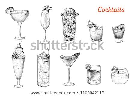 Foto stock: Coquetel · vidro · coleção · isolado · branco · restaurante