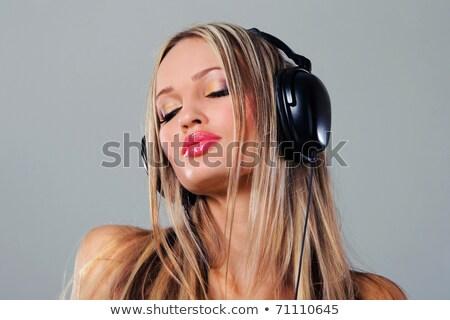 mujer · hermosa · auriculares · club · mujer · nina - foto stock © lithian