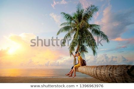 mujer · yoga · sol · playa · manana - foto stock © paha_l