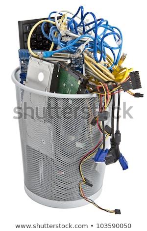 Stockfoto: Elektronische · vuilnisbak · toetsenbord · stroomvoorziening · kabels · harde · schijf
