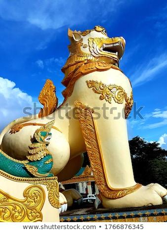 Foto stock: Leão · guarda · Mianmar · palácio · histórico · parque
