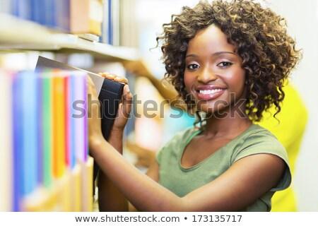 Güzel kütüphaneci büro araştırma yalıtılmış beyaz Stok fotoğraf © lisafx