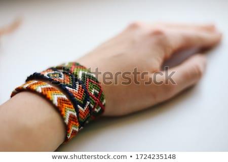 Tricotado pulseira manual trabalho cor moda Foto stock © Goruppa