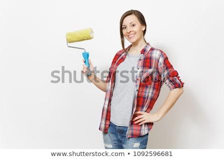 Сток-фото: женщины · работу · дизайна · краской · пространстве · комнату