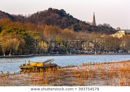 ősi pagoda nyugat tó tükröződés Kína Stock fotó © billperry