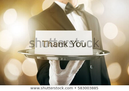 Male waiter hold message board Stock photo © photography33