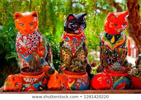Mexicaanse kleurrijk souvenir keramische katten cactus Stockfoto © billperry