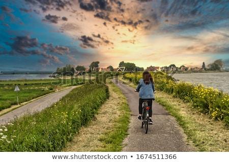 Amszterdam város Hollandia bicikli tipikus utcakép Stock fotó © Roka