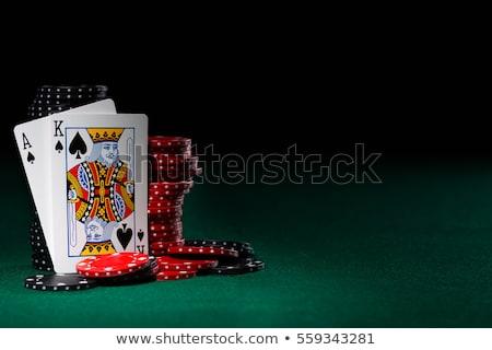 Blackjack rendering 3d tavola scena verde poker Foto d'archivio © oorka