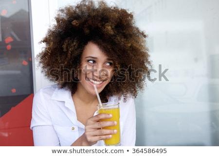 Kadın içme portakal suyu saman portre Stok fotoğraf © wavebreak_media