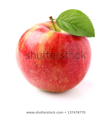 Stok fotoğraf: Ripe Red Apple With Leaf Isolated On White