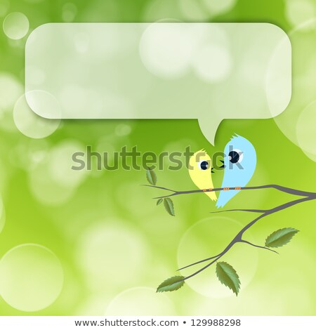 Two birds flirting and talking on branch, blank balloon with cop Stock photo © HASLOO