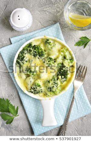 couve-flor · brócolis · queijo · marrom · rústico · prato - foto stock © doupix