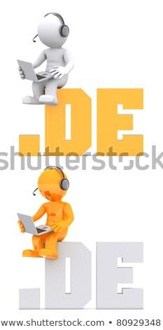 3D · характер · сидят · домен · знак · изолированный - Сток-фото © kirill_m