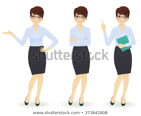 Cartoon female office worker with glasses Stock photo © antonbrand
