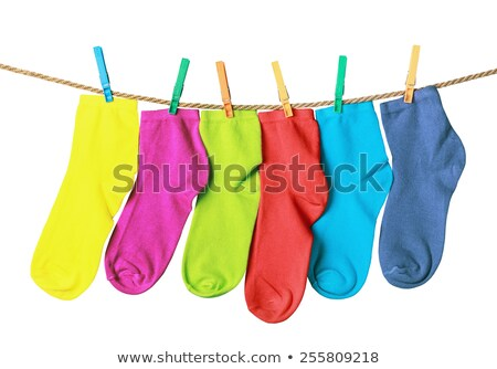 colgante · lavado · línea · hierba · cielo · azul · césped - foto stock © jenbray