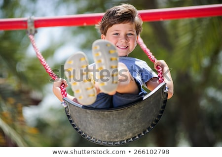 Ragazzi catena swing inverno parco giochi coperto Foto d'archivio © andromeda