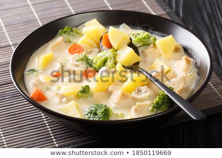 chicken cooked with cream and mushrooms Stock photo © M-studio