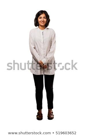 Little funny girl posing over white background Stock photo © Nejron