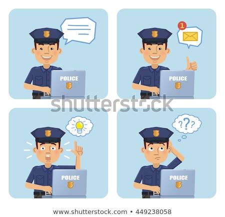 Policial pensando indicação para cima educação azul Foto stock © bmonteny